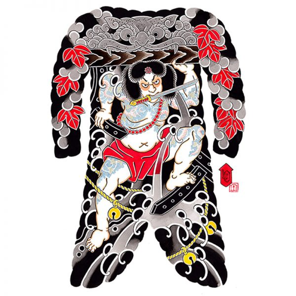 Full image of Irezumi bodysuit tattoo artwork featuring Rorihakucho Chojun