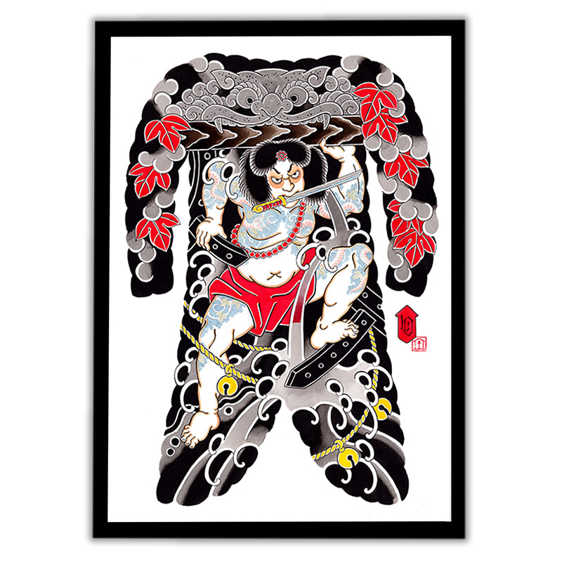 Framed Irezumi bodysuit tattoo artwork featuring Rorihakucho Chojun