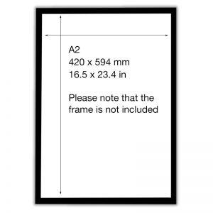 Visual description of A2 dimensions 420 x 594 mm