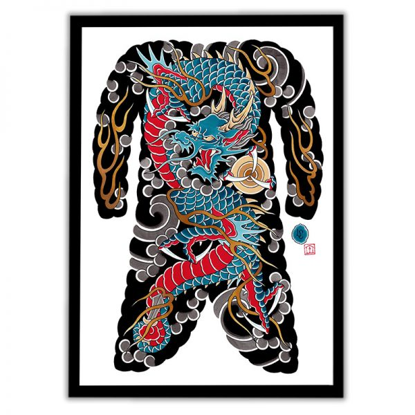 Blue Dragon bodysuit artwork framed