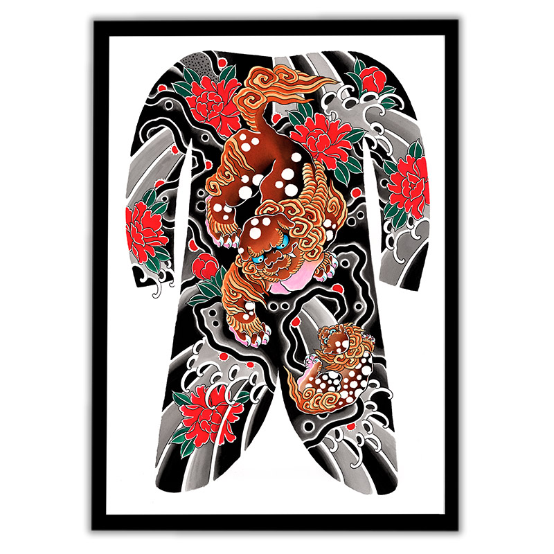 Framed Irezumi bodysuit tattoo artwork featuring a Karashishi Foo dog and cub