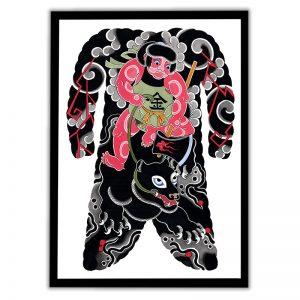 Framed Irezumi bodysuit tattoo artwork featuring Kintaro, the golden boy