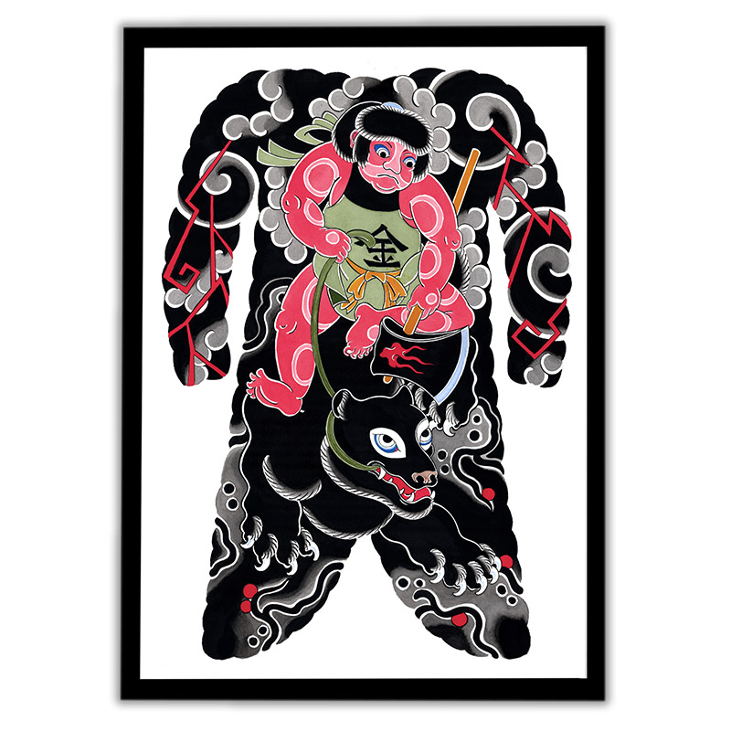 Framed Irezumi bodysuit tattoo artwork featuring Kintaro, the golden boy