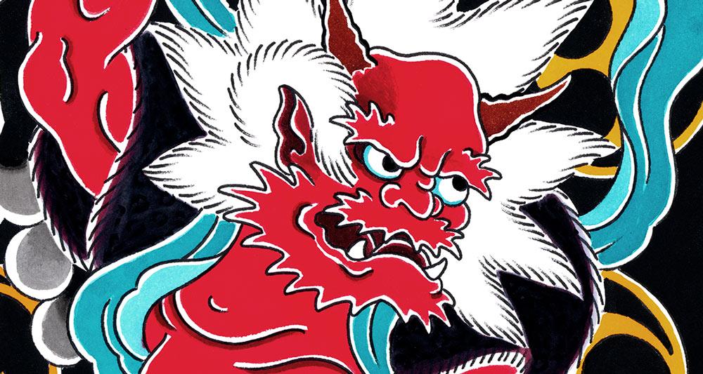 Close up of Raijin the god of thunder and lightning artwork