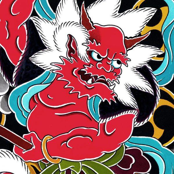 Detail of Raijin the God of Thunder