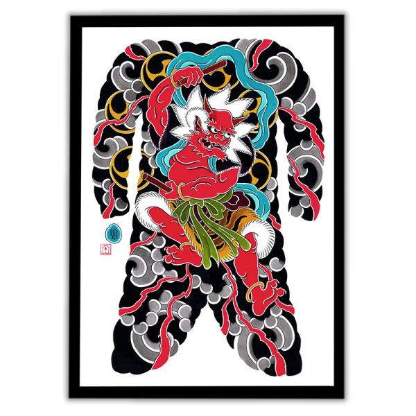 Framed Irezumi bodysuit tattoo artwork featuring Raijin the God of Thunder