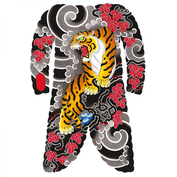 Irezumi bodysuit tattoo artwork featuring a Tiger