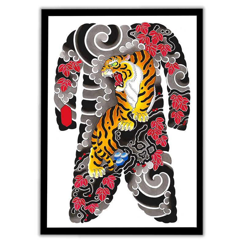 Framed Irezumi bodysuit tattoo artwork featuring a Tiger