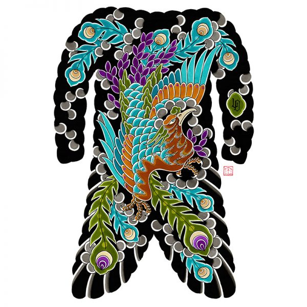 Irezumi bodysuit tattoo artwork featuring Phoenix or Ho-o bird