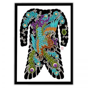 Framed Irezumi bodysuit tattoo artwork featuring Phoenix (Ho-o bird)
