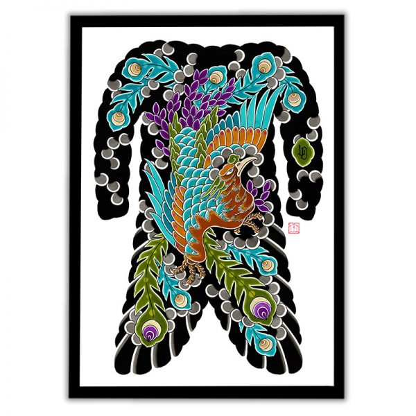 Framed Irezumi bodysuit tattoo artwork featuring Phoenix (Ho-o bird)