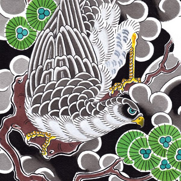 Detail of Irezumi artwork featuring a Hawk in amongst pine trees