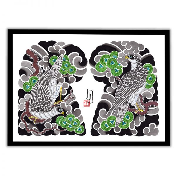 Framed Irezumi artwork featuring an image of a Hawk in amongst pine trees