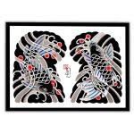 Framed Irezumi artwork featuring an image of Koi fish