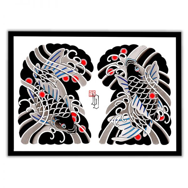 Framed Irezumi artwork featuring an image of Koi fish