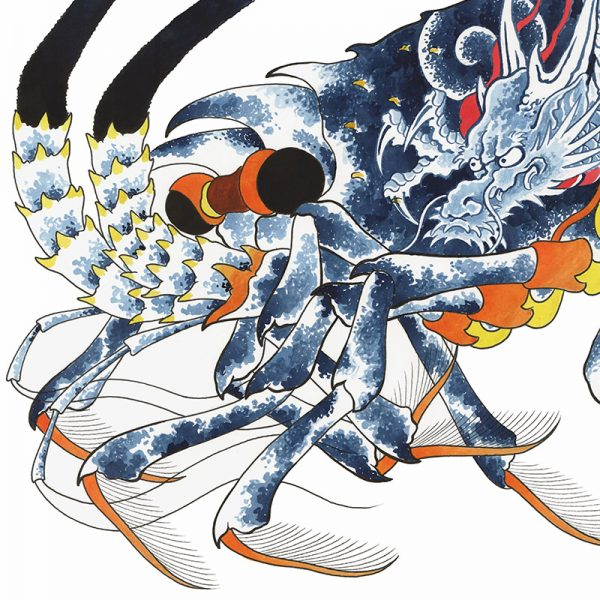 Full image of Irezumi artwork featuring an image of a lobster tattooed with a dragon