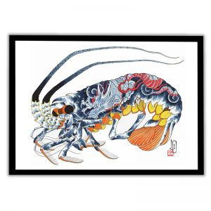 Framed Irezumi artwork featuring an image of a lobster tattooed with a dragon