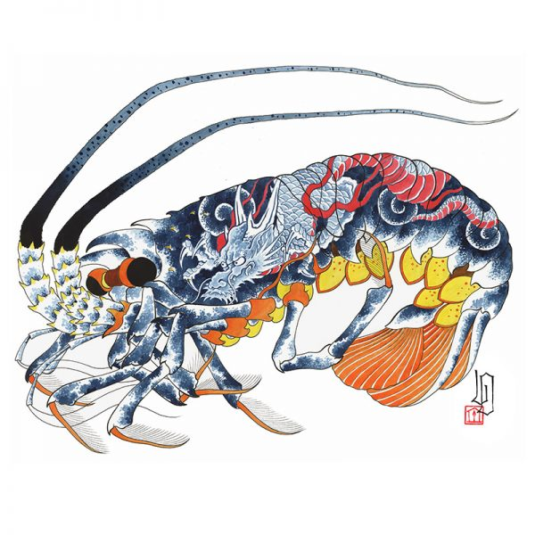 Full image of Irezumi artwork featuring image of a lobster tattooed with a dragon
