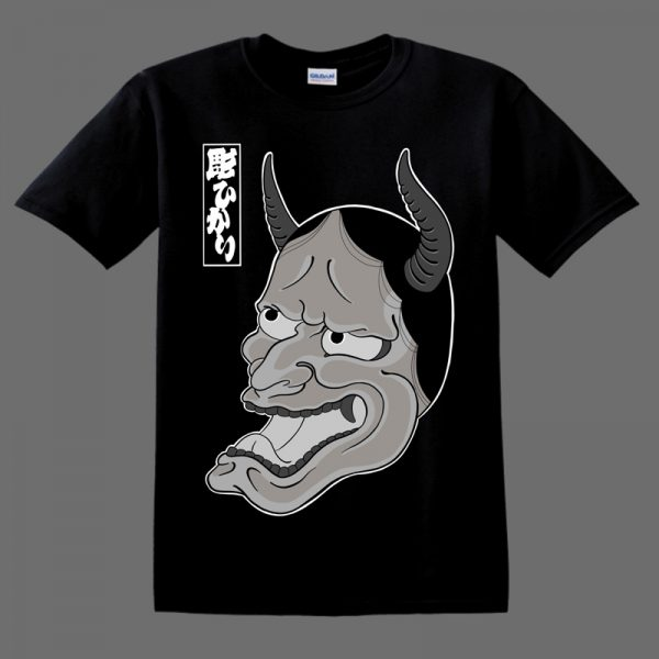 Hannya Mask illustration on black T shirt