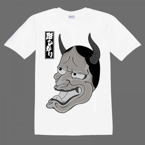 Hannya Mask illustration on whiteT shirt