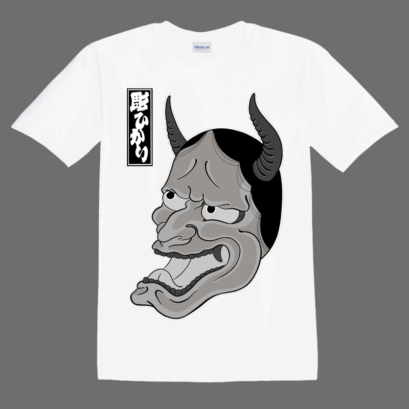 Hannya Mask illustration on whiteT shirt