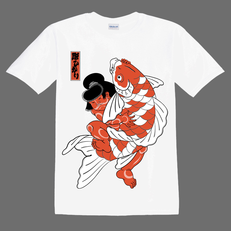 Kintaro and Koi illustrations on a White T shirt