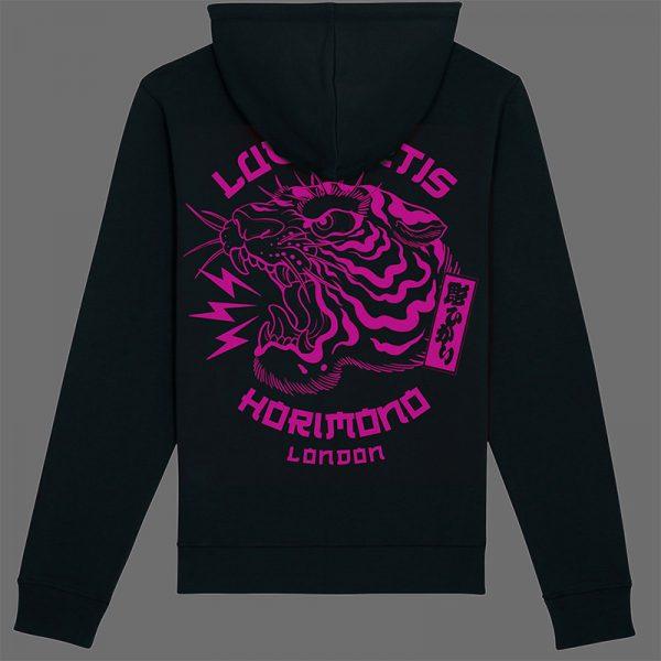 Black horimono hoodie with magenta Tiger print back