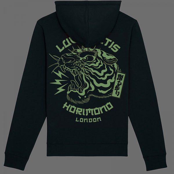 Black horimono hoodie with sage Tiger print back
