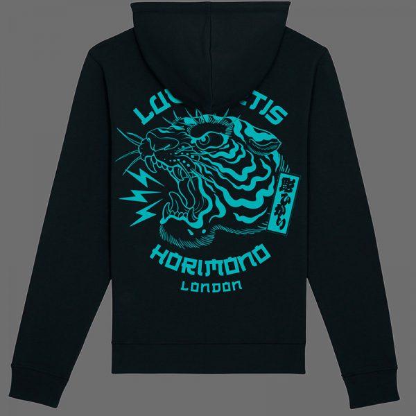Black horimono hoodie with teal Tiger print back